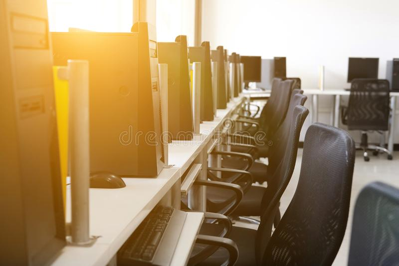 Computer training room. lab classroom in college. Computer training room in university. lab classroom in college royalty free stock image