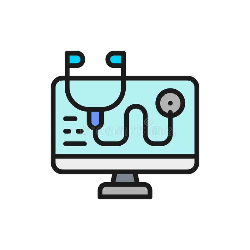 Computer treatment, antivirus, online consultant flat color line icon. Vector computer treatment, antivirus, online consultant flat color line icon. Symbol and vector illustration