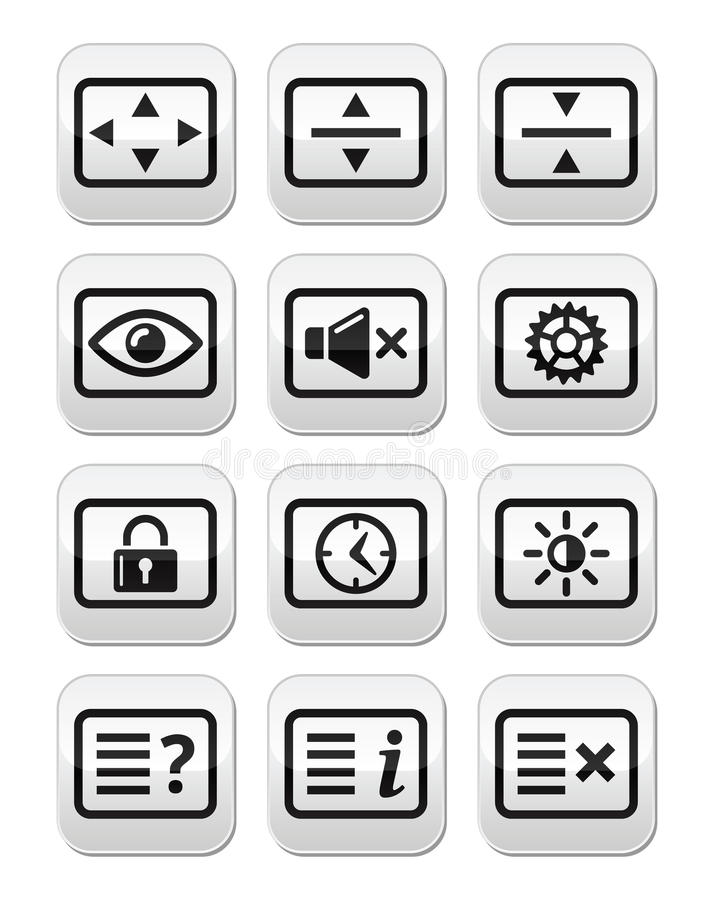 Computer tv monitor screen buttons set. Vector screen buttons set isolated on white - resize screen, settings, sound, account royalty free illustration