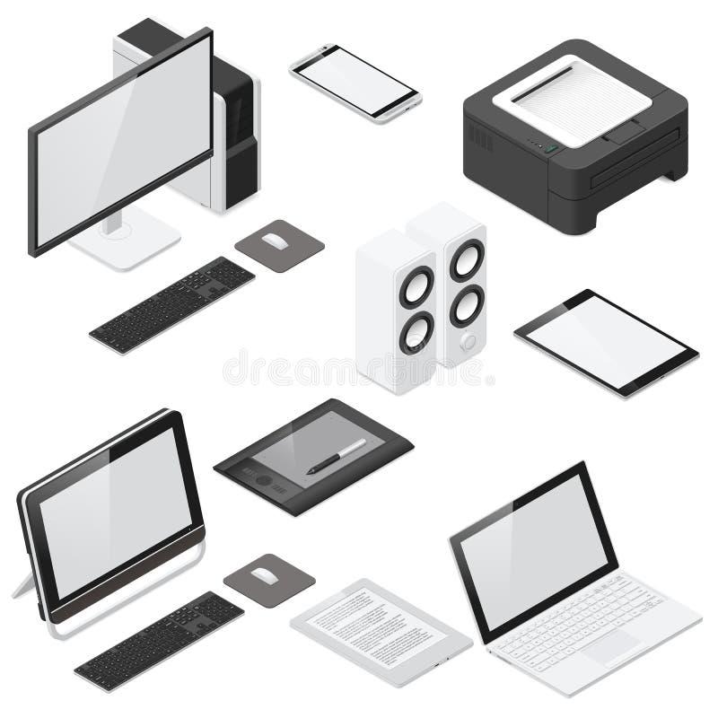 Computer- und Bürogeräte führten isometrischen Ikonensatz einzeln auf stock abbildung