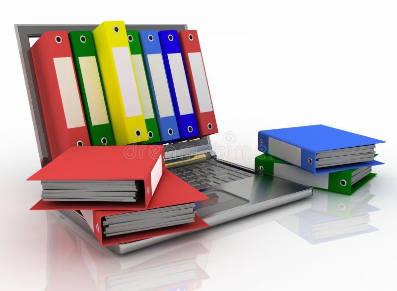 Computer und Ordner für Dokumente vektor abbildung