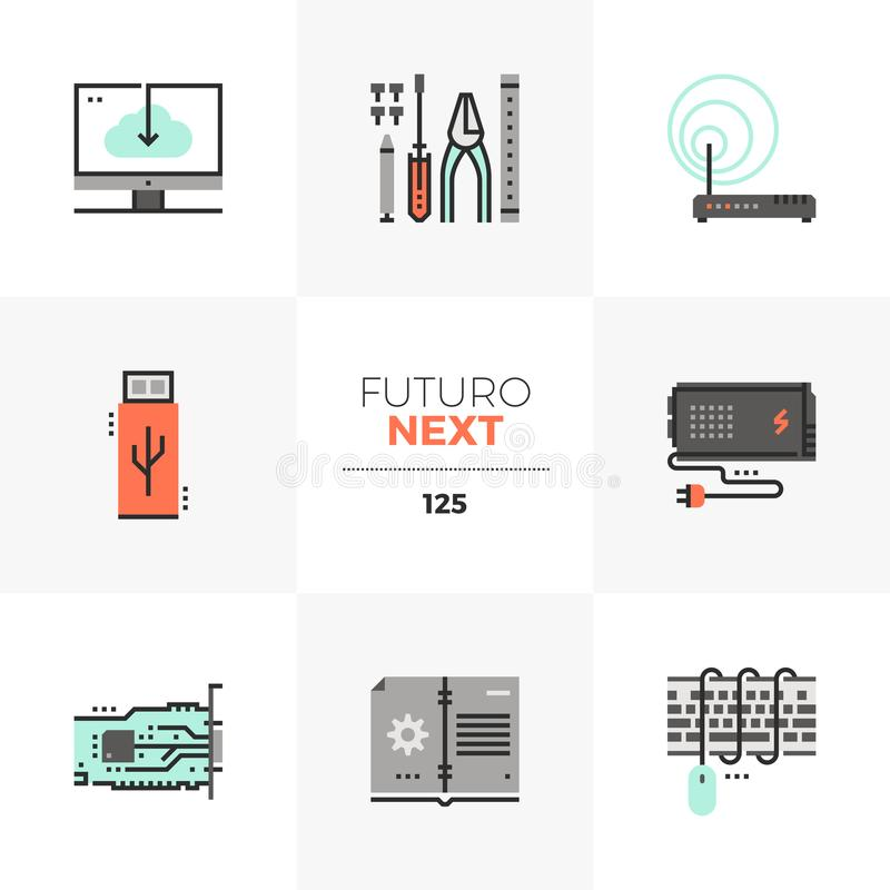 Computer Upgrade Futuro Next Icons. Modern flat icons set of computer upgrade service, installation tools. Unique color flat graphics elements with stroke lines stock illustration