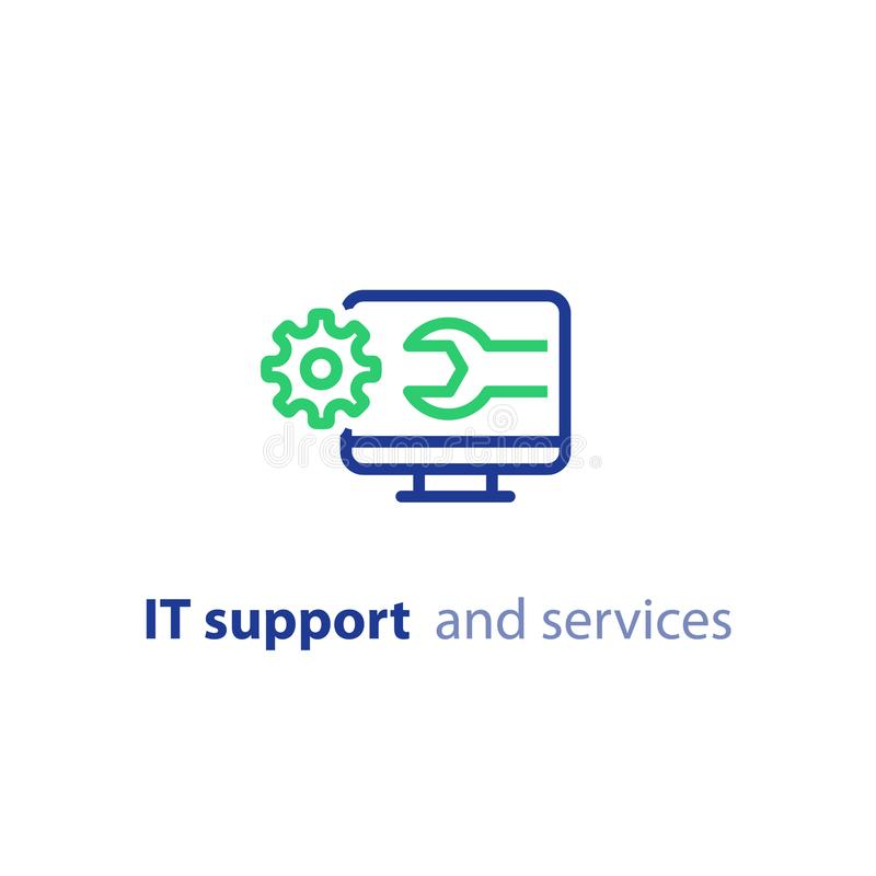 Computer upgrade, system update, software installation, repair services, IT support line icon. Computer repair services, cogwheel and wrench, IT support concept vector illustration