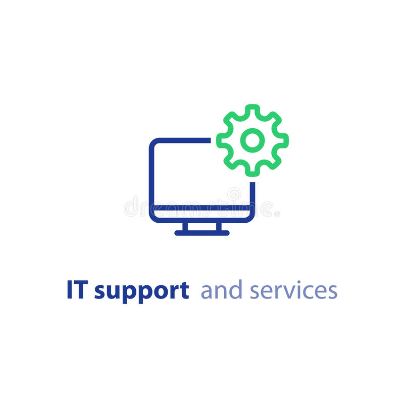 Computer upgrade, system update, software installation, repair services, IT support line icon vector illustration
