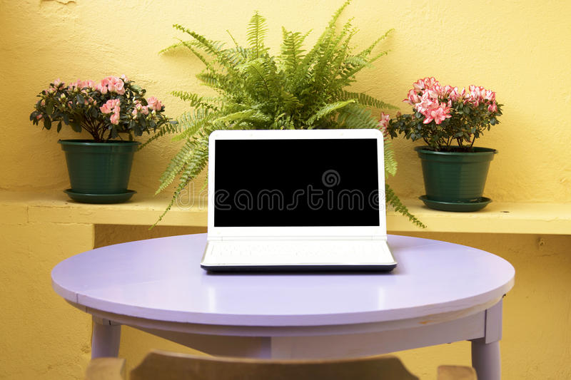 Computer in the urban terrace stock photo