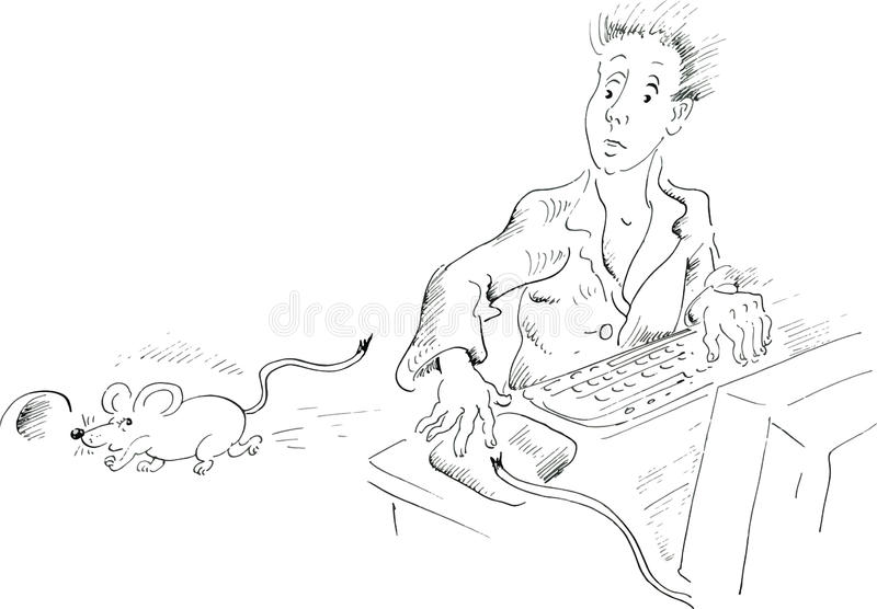 Download Computer User Looking At Mouse Running Away Stock Vector - Image: 29751710