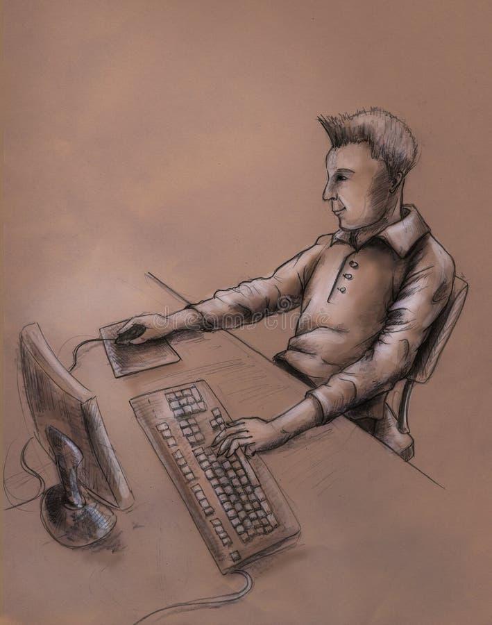 Download Computer user - sketch stock illustration. Image of stylish - 16037329
