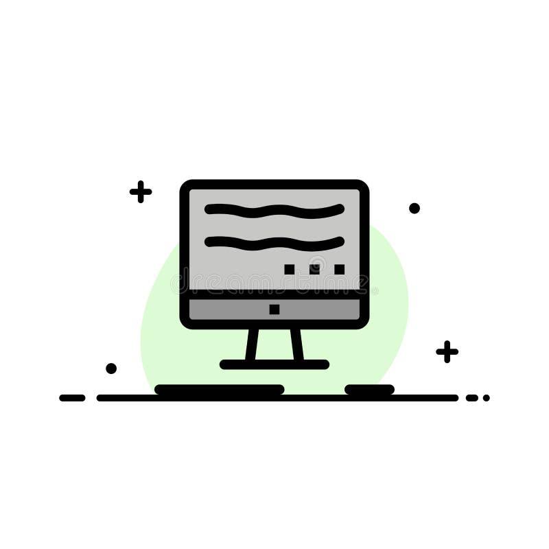 Computer, van de Online, Marketing Malplaatje Bedrijfs het Vlakke Lijn Gevulde Pictogram Vectorbanner stock illustratie