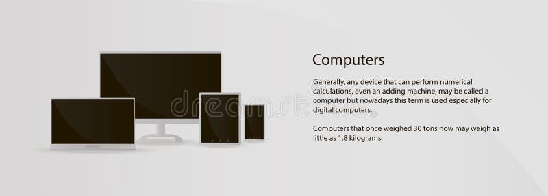 Computer van model de veelvoudige apparaten, laptop, tablet, smartphone op grijze achtergrond voor plaats royalty-vrije illustratie