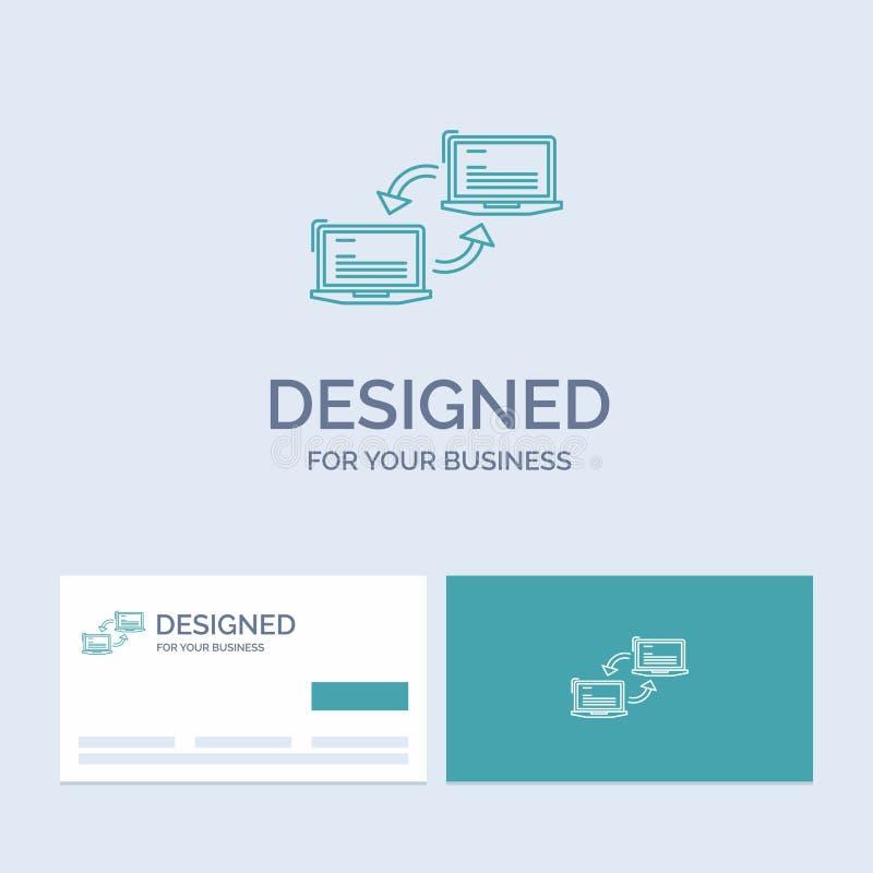 Computer, verbinding, verbinding, netwerk, synchronisatiezaken Logo Line Icon Symbol voor uw zaken Turkooise Visitekaartjes met M stock illustratie