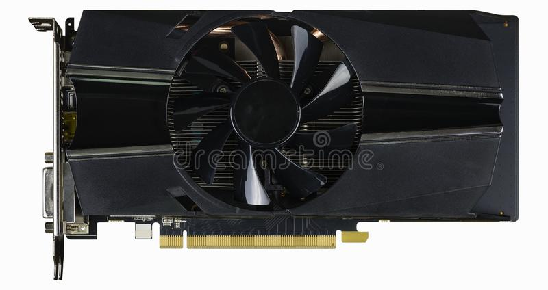 Computer Video card with fan and connectors stock images