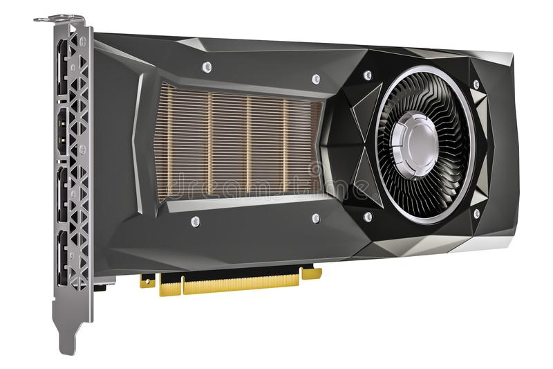 Computer video card GPU, 3D rendering royalty free illustration