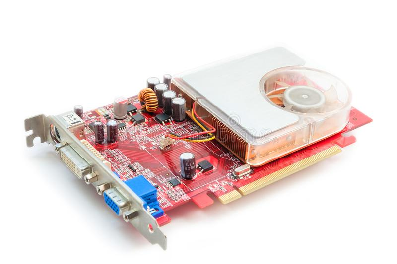 Computer video card on white background. royalty free stock image