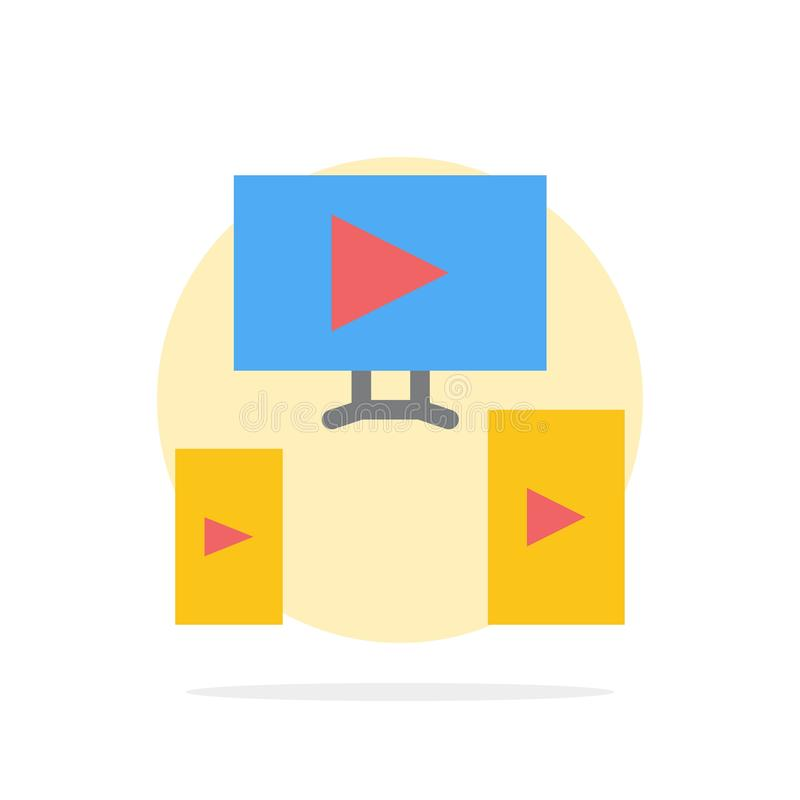 Computer, Video, Design Abstract Circle Background Flat color Icon royalty free illustration