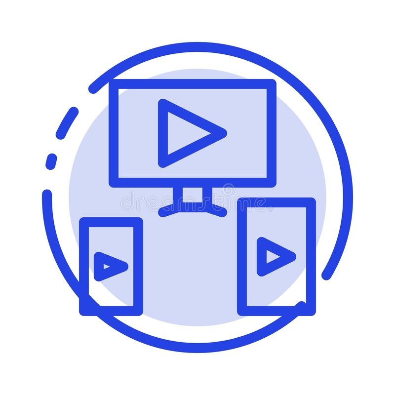 Computer, Video, Design Blue Dotted Line Line Icon stock illustration