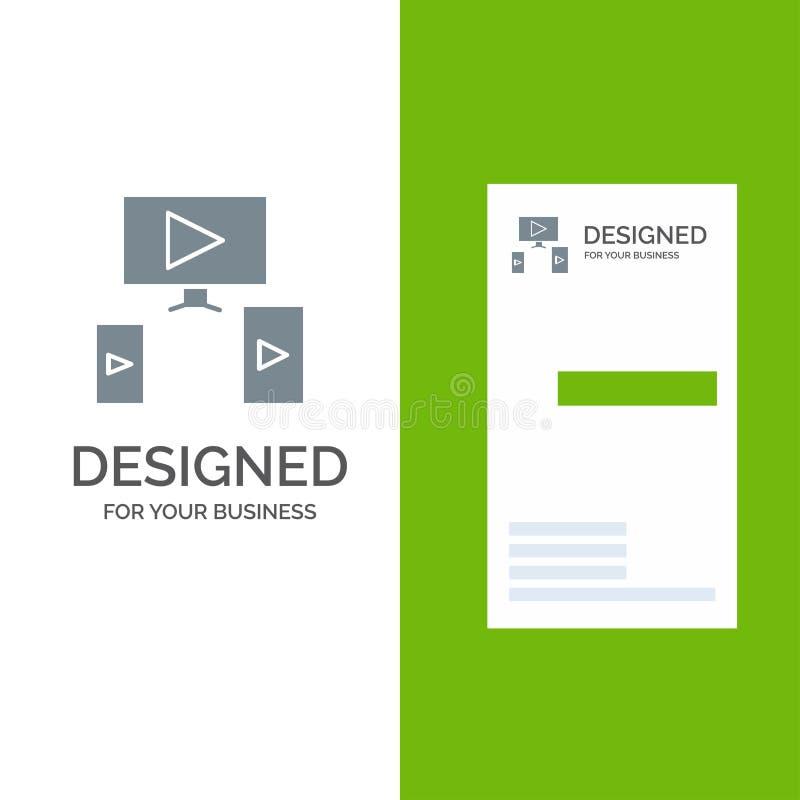 Computer, Video, Design Grey Logo Design and Business Card Template vector illustration