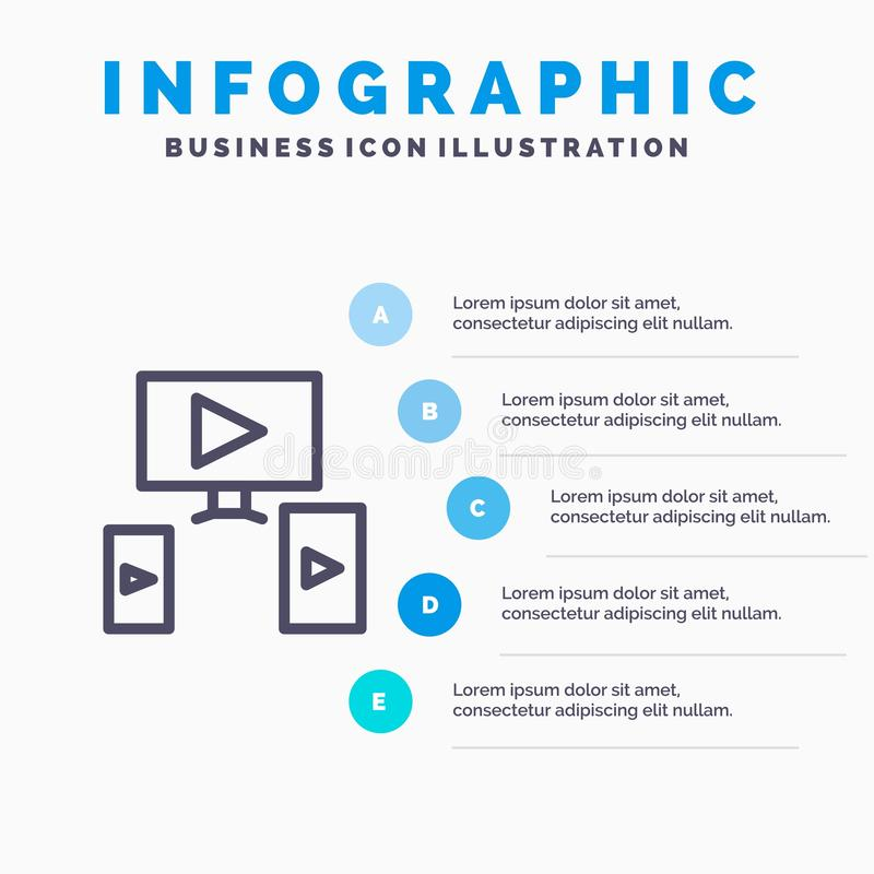 Computer, Video, Design Line icon with 5 steps presentation infographics Background vector illustration