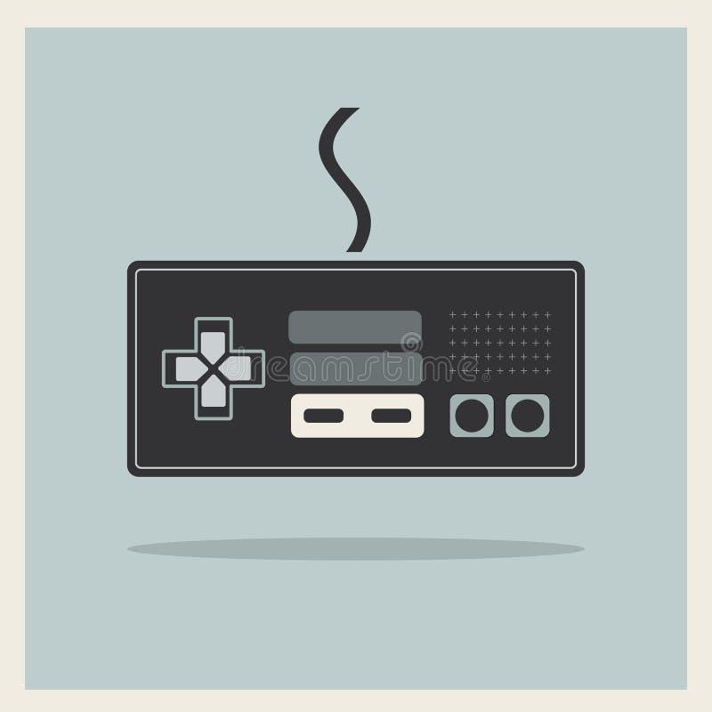 Computer Video Game Controller Joystick Vector. Computer Video Game Controller Joystick on Retro Background Vector stock illustration