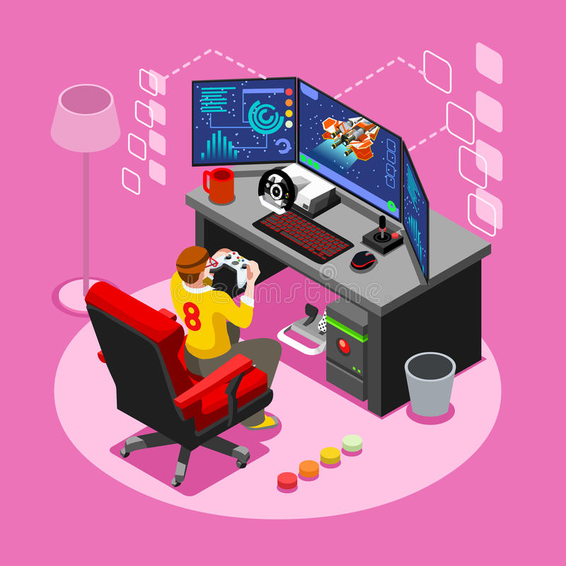 Computer Video Game Isometric Gaming People Vector Illustration. Video game screen and gamer person gaming online with console controller android phone or vector illustration