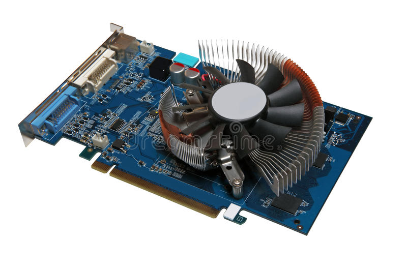 Computer videocard isolated on a white background. stock photos