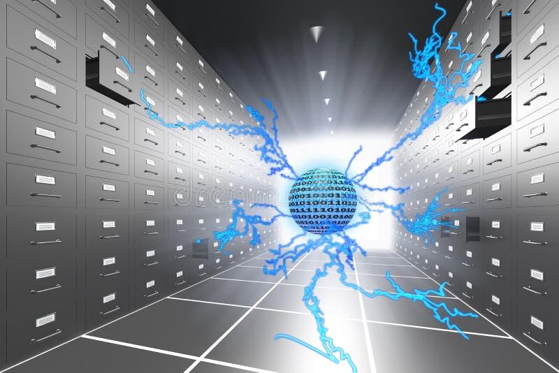 Computer virus. Inside the computer data storage. Hi-res digitally generated image royalty free illustration