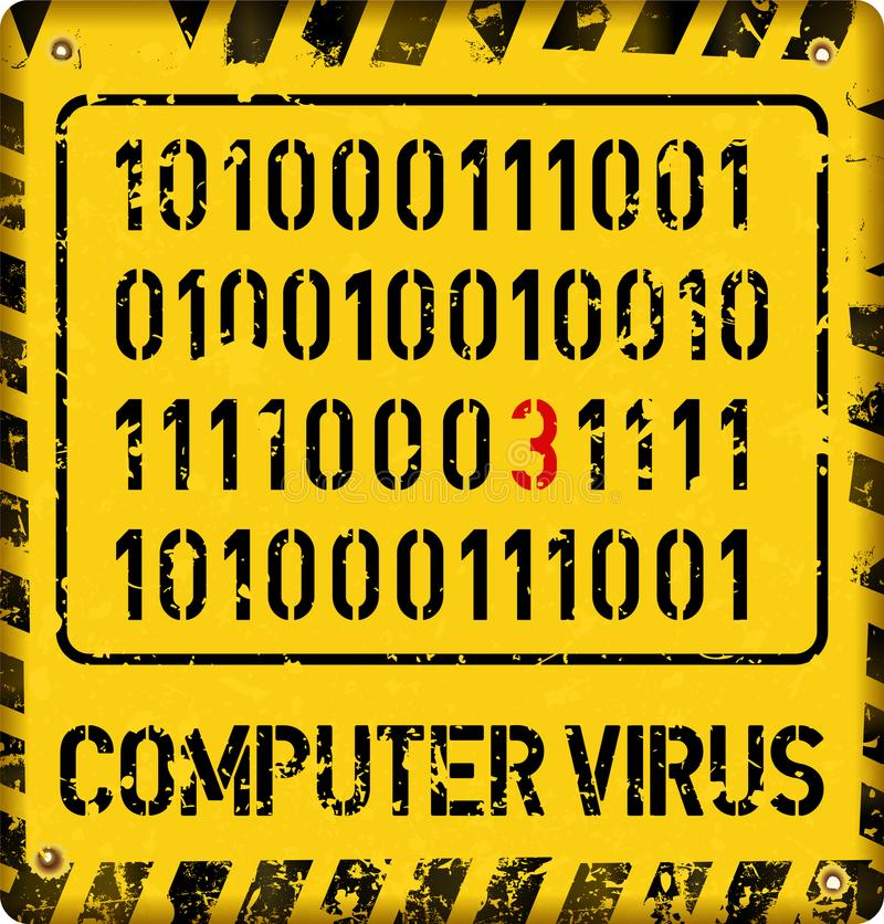 Computer virus alert sign, internet security concept,. Grungy style vector stock illustration