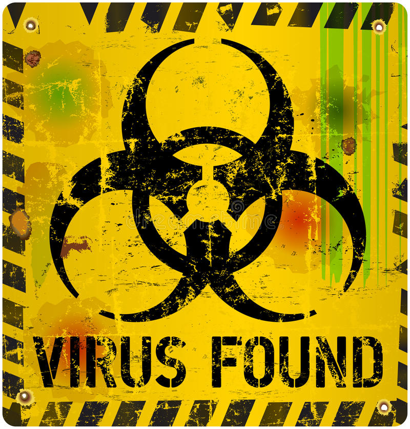 Computer virus. Alert sign, vector illustration stock illustration