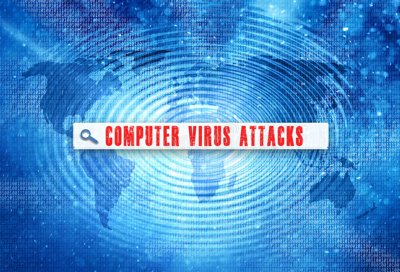 Computer virus attack words search bar background. Abstract world map with binary numbers on spin wave effect with red color computer virus attacks words search vector illustration