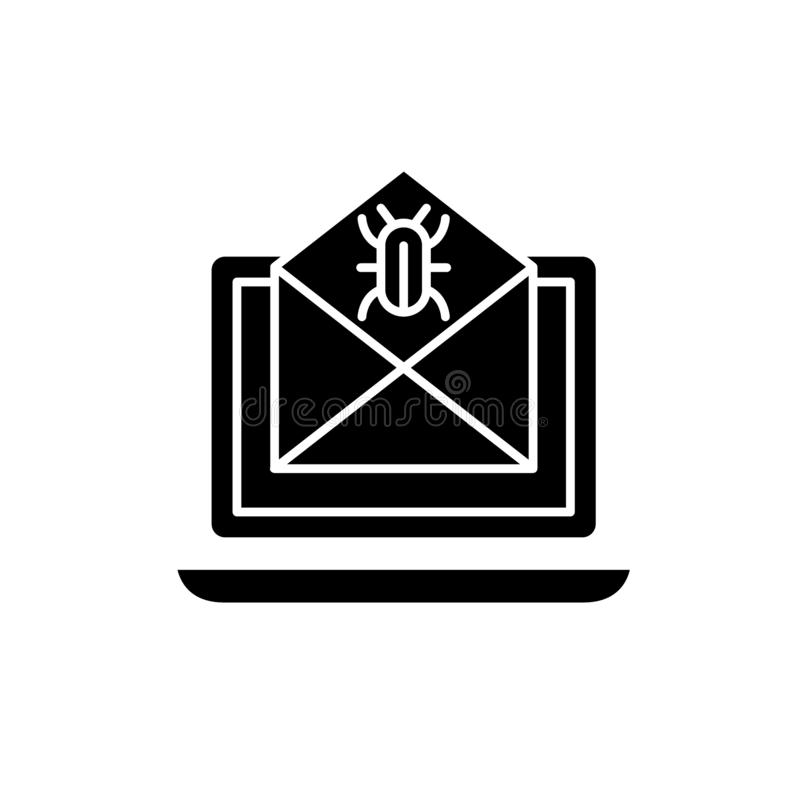 Computer virus black icon, vector sign on isolated background. Computer virus concept symbol, illustration royalty free illustration