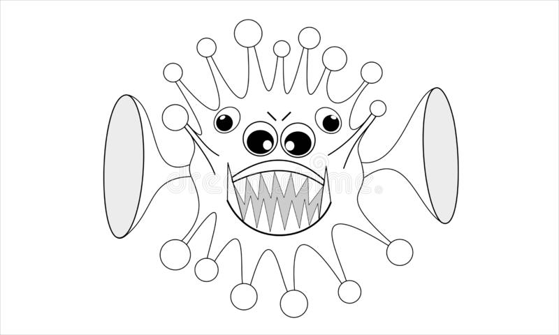Computer virus with four eyes and two big ears, cartoon illustration stock illustration