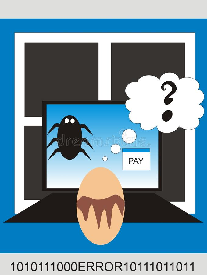 Computer Virus Cash. Picture of computer virus that forces you to pay cash royalty free illustration