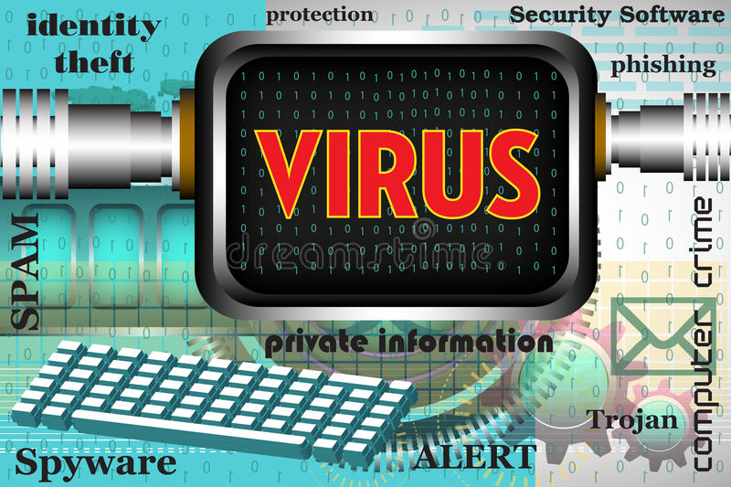Computer virus. Colorful background with computer keyboard, computer screen and the word virus written on the computer`s screen. Computer virus theme royalty free illustration
