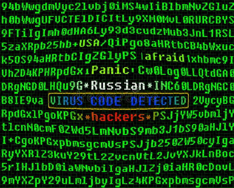 Computer virus concept. Russian hackers. royalty free stock photography