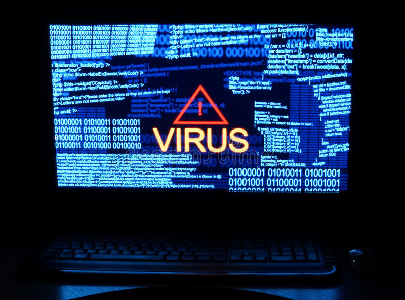Computer virus. Computer in dark with word virus royalty free illustration