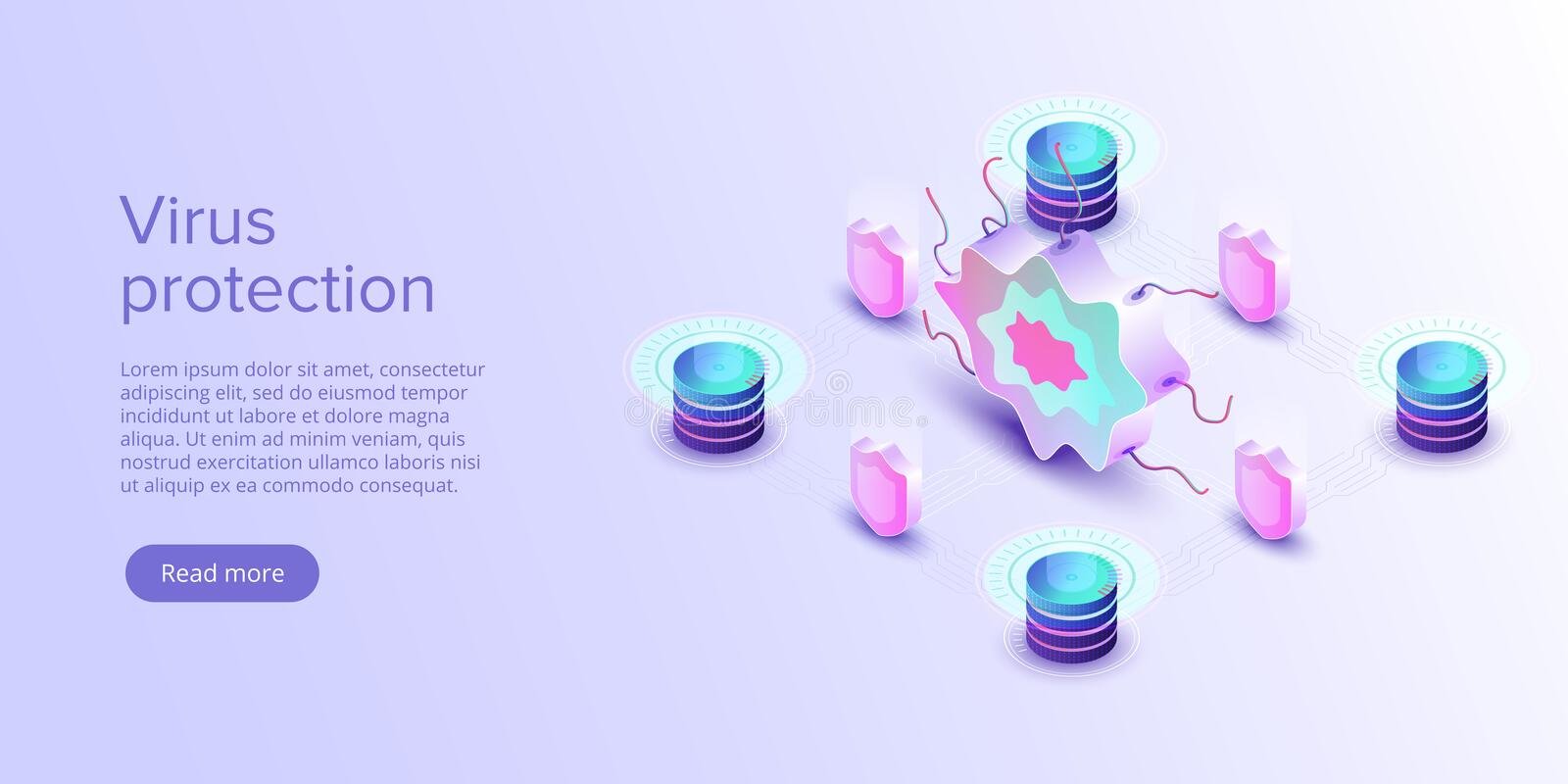 Computer virus protection concept in isometric vector illustration. Online security app or server antivirus program. Internet royalty free illustration