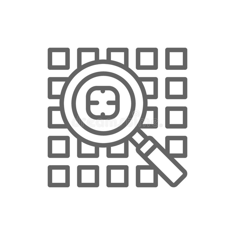 Computer virus search, security system line icon. vector illustration