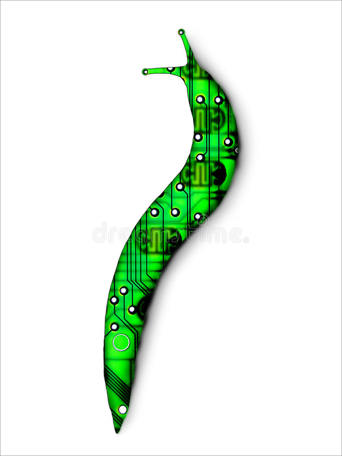 Computer Virus Spyware Data Information Collect. Computer virus in the form of a slug royalty free stock photography