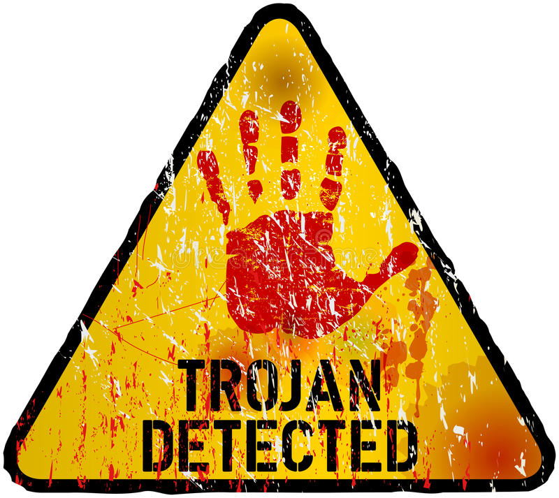Computer virus. Trojan / computer virus alert sign, illustration royalty free illustration