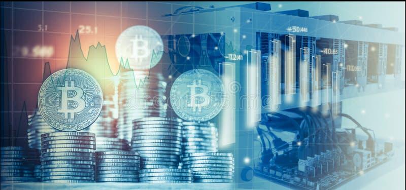 Computer voor Bitcoin-mijnbouw en bitcoin muntstuk op een effectenbeursgrafieken stock afbeeldingen