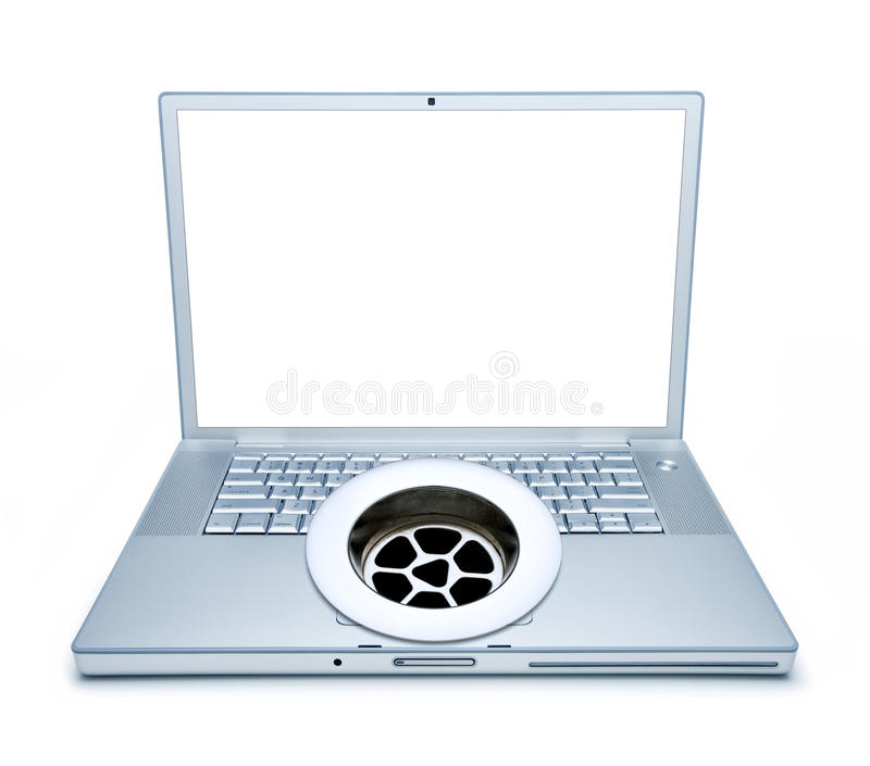 Computer Waste Drain. A laptop computer with a drain in the middle of the keyboard and a blank screen stock photo