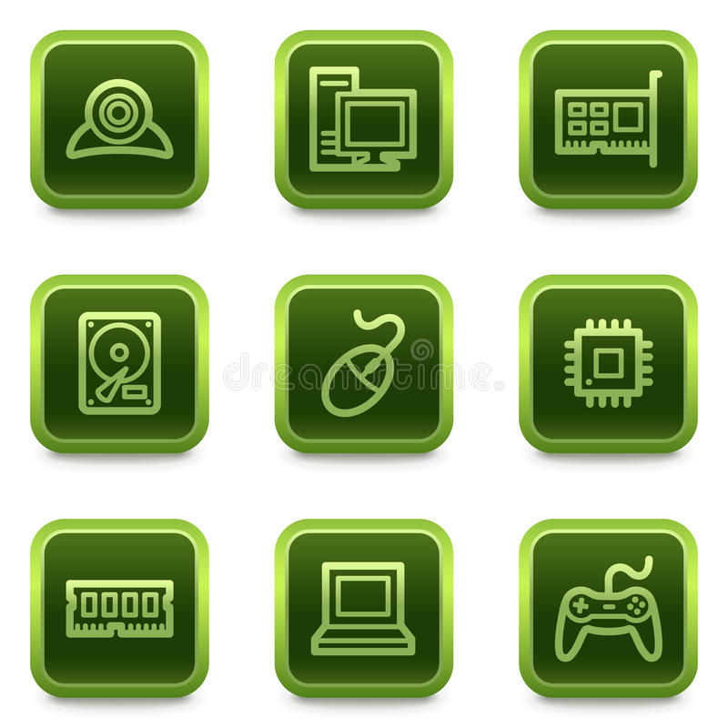 Download Computer Web Icons, Green Square Buttons Series Stock Vector - Illustration of disk, icons: 13106604