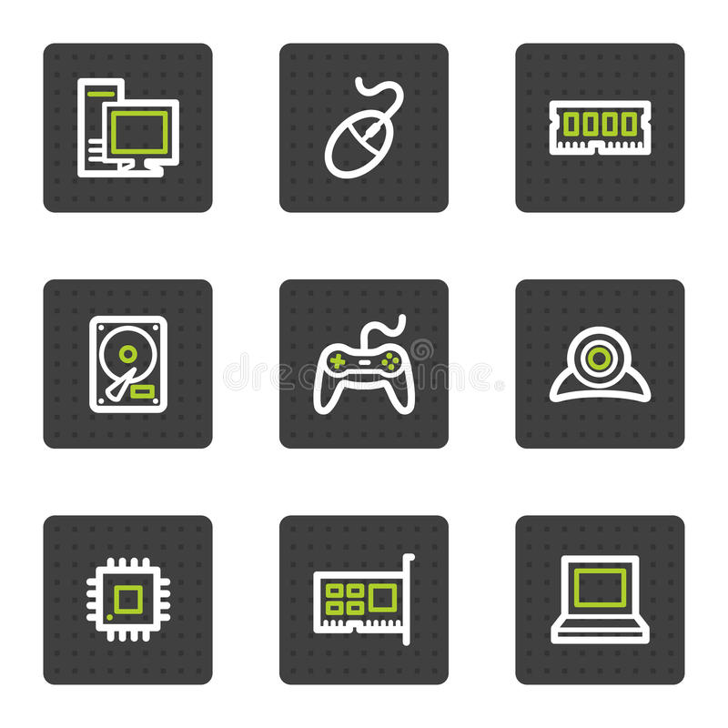 Computer Web Icons, Grey Square Buttons Series Stock Photos