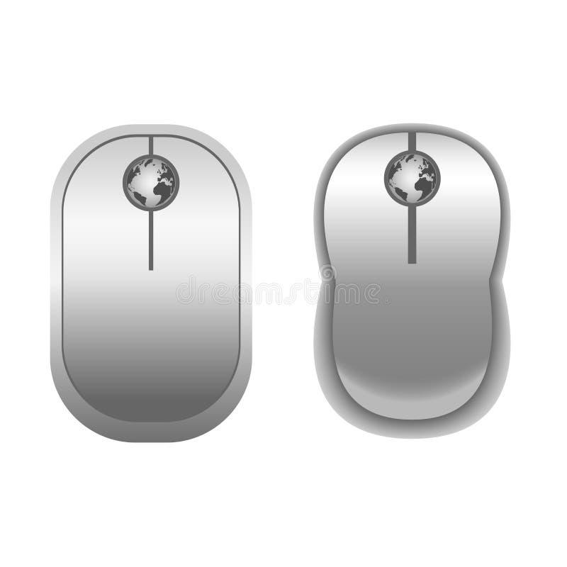 Computer-weiße Mäuse mit Kugel stock abbildung