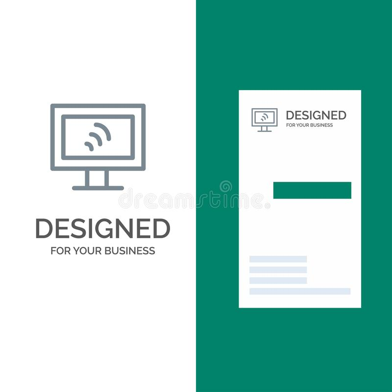 Computer, Wifi, Service Grey Logo Design and Business Card Template vector illustration