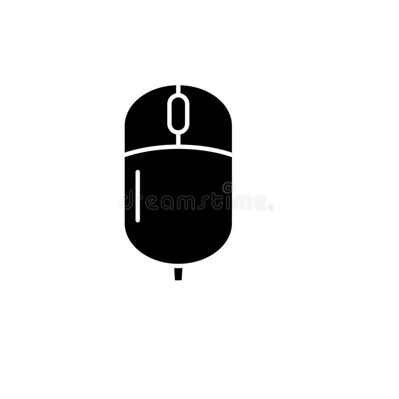 Computer wireless mouse black icon, vector sign on isolated background. Computer wireless mouse concept symbol royalty free illustration
