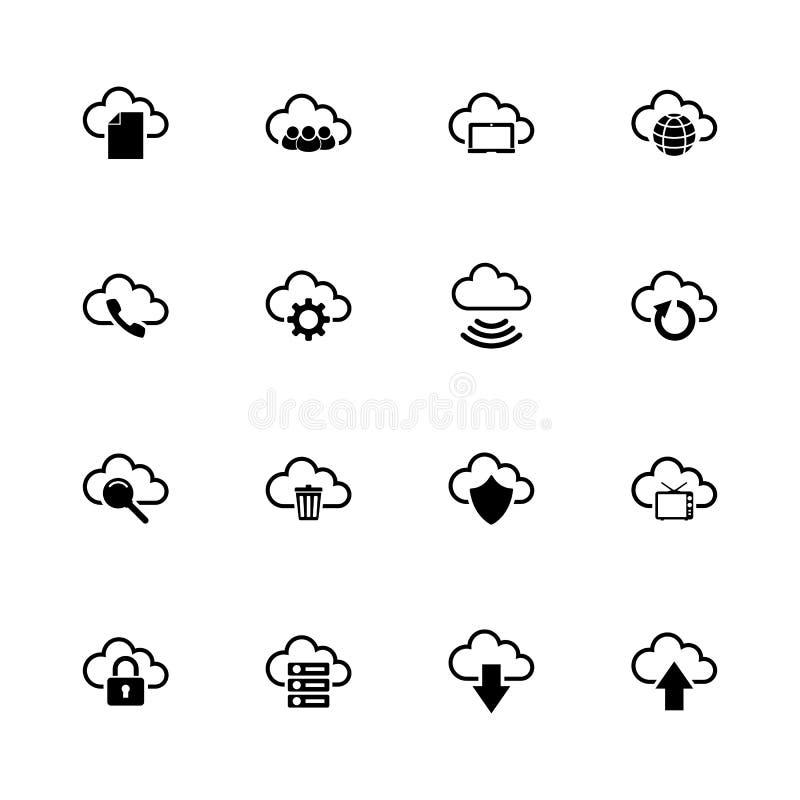 Computer-Wolke - flache Vektor-Ikonen lizenzfreie abbildung