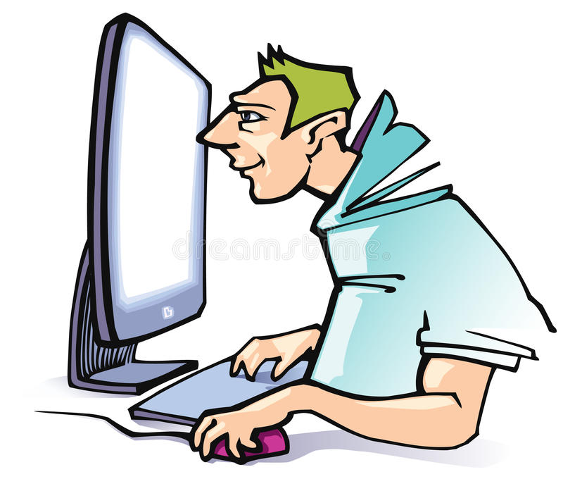 Computer work. The smiling man working at a computer vector illustration