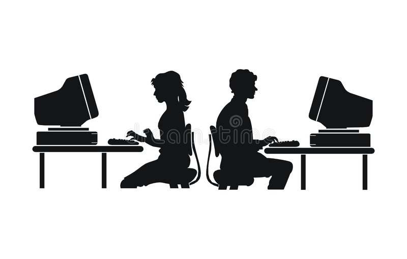 Computer work. People royalty free illustration
