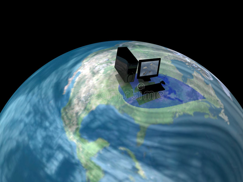 Computer on world. A view of a round earth with a computer system superimposed among swirling clouds. Theme: worldwide, global, international, digital revolution stock illustration