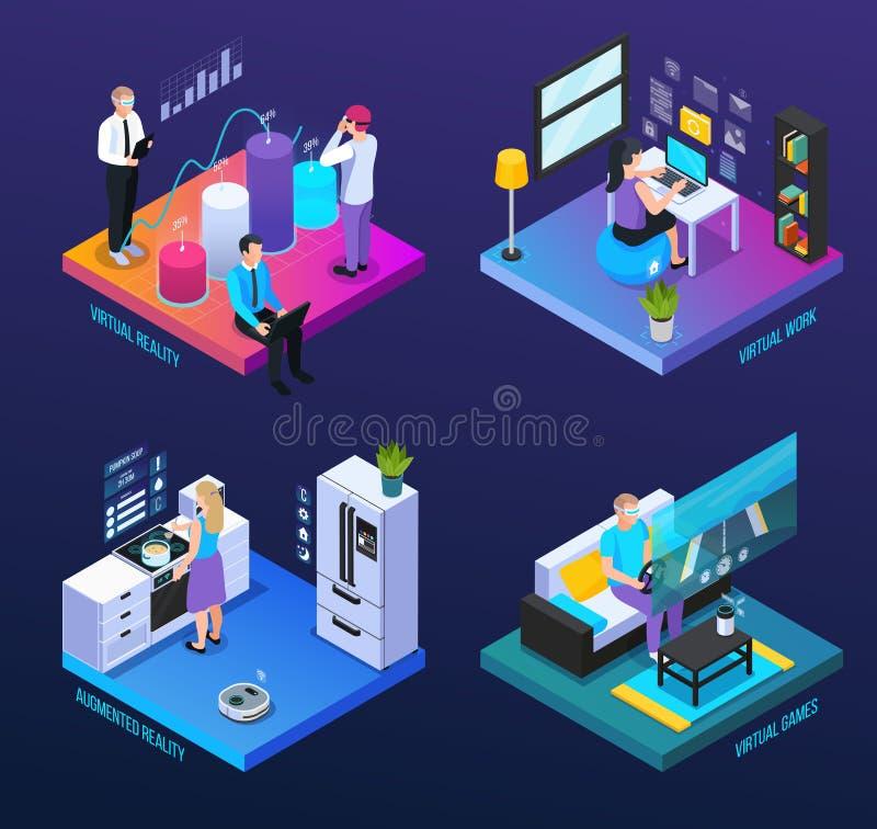 Computer World VR Composition stock illustration